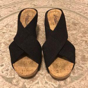 Lucky Brand Black Linen Elastic Miller Sandals